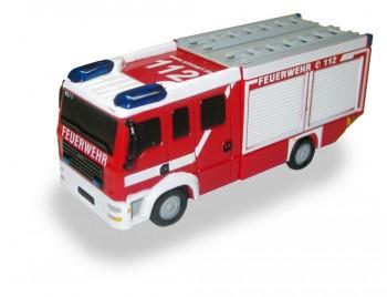 USB-Stick 32GB USB3.0 in Form eines Feuerwehrautos mit blinkenden Blaulichtern